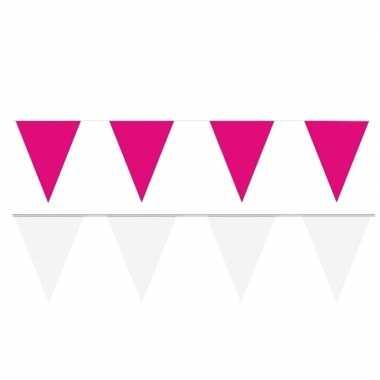 80 meter witte/roze buitenvlaggetjes