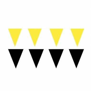 80 meter zwart/gele buitenvlaggetjes