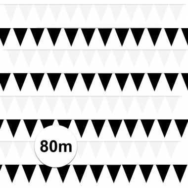 80 meter zwart/witte buitenvlaggetjes