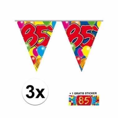85 jaar vlaggenlijnen 3x met gratis sticker