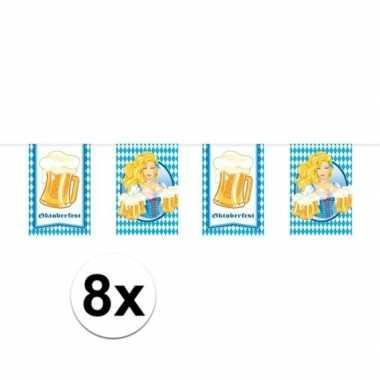 8x beierse/bayern print rechthoekige vlaggenlijn/slinger 10 meter feestversiering