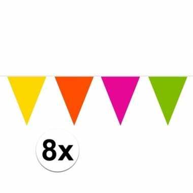 8x brandvertragende slingers gekleurd 10 meter