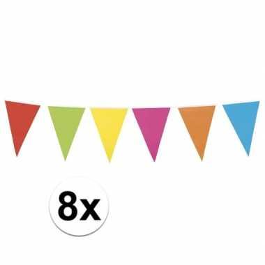 8x gekleurde vlaggenlijn 10 meter
