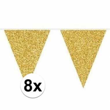 8x gouden vlaggenlijnen met glitters 10 meter