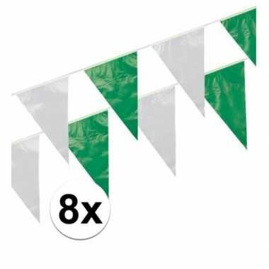 8x groen / wit vlaggenlijnen 10 meter