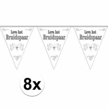 8x leve het bruidspaar bruiloft versiering vlaggenlijn