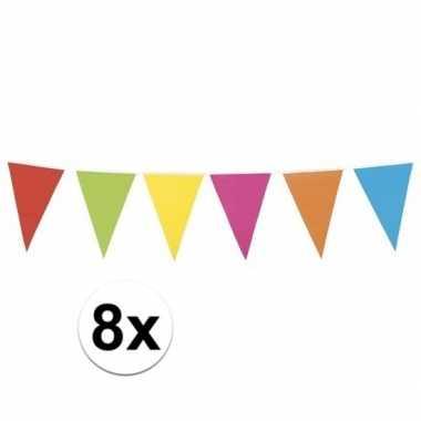 8x mega vlaggenlijn gekleurd xl 10 meter