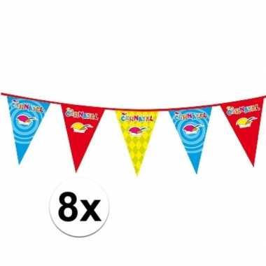 8x plastic carnaval vlaggenlijnen