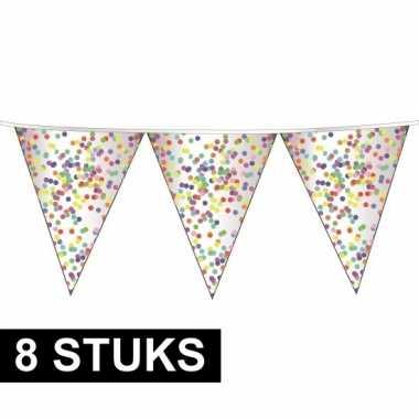 8x plastic confetti thema feestje vlaggenlijnen 23 cm