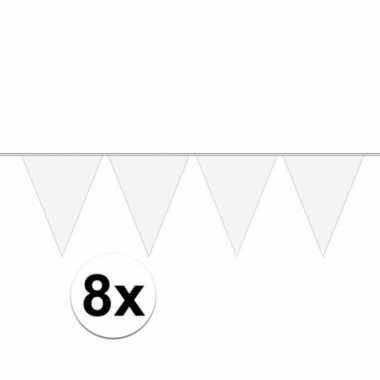 8x stuks carnaval vlaggenlijn wit 10 meter