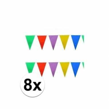 8x stuks gekleurde vlaggetjes 10 meter