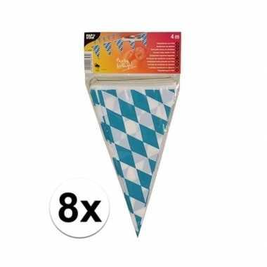 8x stuks vlaggetjes van oktoberfest bayern van 4 meter