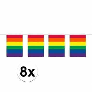 8x vierkante regenboog vlaggenlijnen van 10 meter