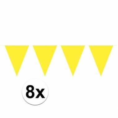 8x vlaggenlijnen geel kleurig 10 m