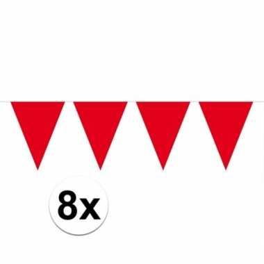 8x vlaggenlijnen rood kleurig 10 m