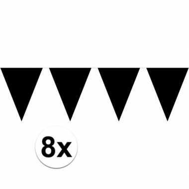 8x vlaggenlijnen zwart kleurig 10 m