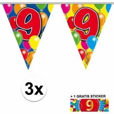 9 jaar vlaggenlijnen 3x met gratis sticker