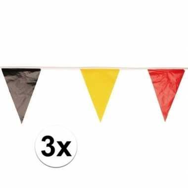 Belgie fan/supporter vlaggenlijn/slinger 10 meter 3 stuks