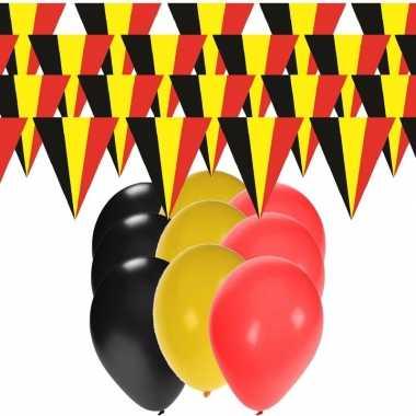 Belgische supporters versiering 20 meter slingers en 60 ballonnen