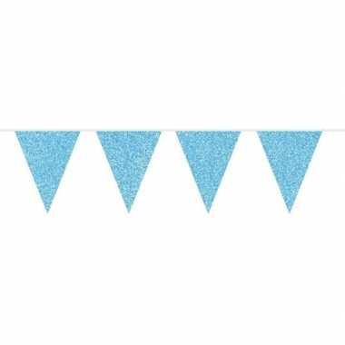 Blauwe babyshower vlaggenlijn met glitters 10 meter