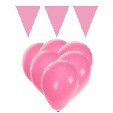 Decoratie licht roze 15 ballonnen met 2 vlaggenlijnen