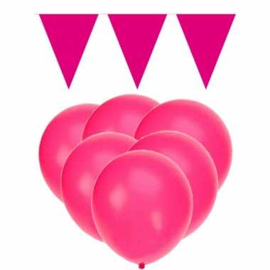 Decoratie roze 15 ballonnen met 2 vlaggenlijnen