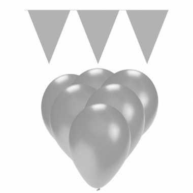 Decoratie zilver 15 ballonnen met 2 vlaggenlijnen