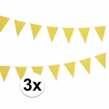 Drie vlaggenlijnen geel met witte stippen 4 meter
