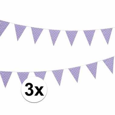 Drie vlaggenlijnen llila met witte stippen 4 meter