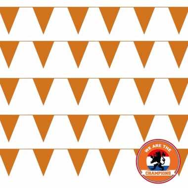Ek/ wk/ koningsdag oranje versiering pakket met oa 100 meter xl oranje vlaggenlijnen/ vlaggetjes