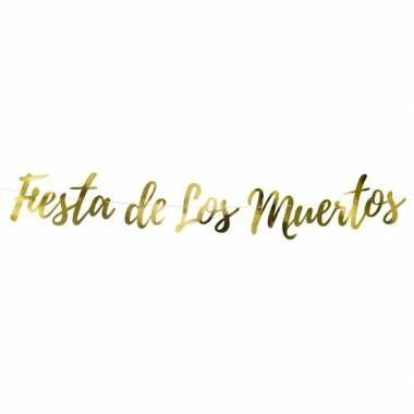 Fiesta de los muertos gouden letterslinger 160 cm