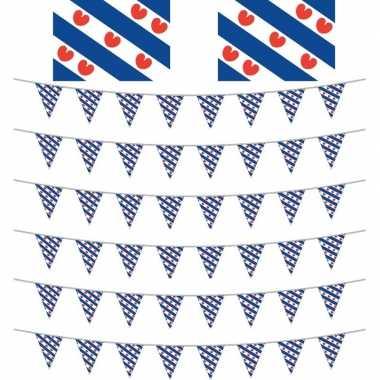 Friesland decoratie pakket met 2 vlaggen en 6 vlaggenlijnen