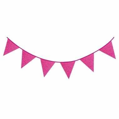 Fuchsia roze vlaggenlijn met glitters 6 meter