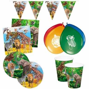 Gedekte kinderfeestje jungle tafel set bordjes/bekers/servetten voor 8x kinderen