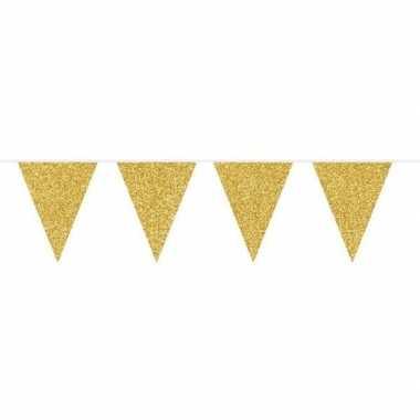 Gouden vlaggenlijn met glitters 10 meter
