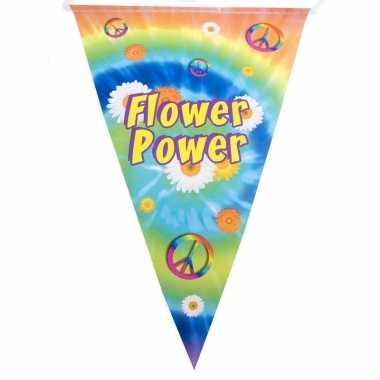 Hippie feest vlaggenlijn flower power 5 meter