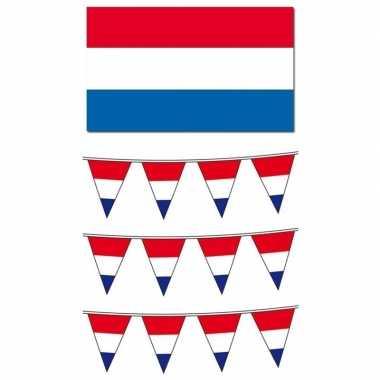 Hollandse vlaggen/vlaggenlijnen pakket groot