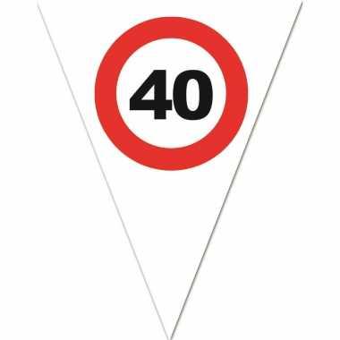 Leeftijd verjaardag vlaggenlijn met 40 jaar stopbord opdruk 5 meter