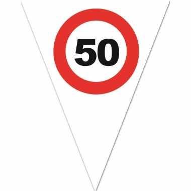 Leeftijd verjaardag vlaggenlijn met 50 jaar stopbord opdruk 5 meter