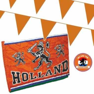 Oranje versiering buiten pakket 1x mega holland spandoek/ vlag + 200 meter vlaggetjes
