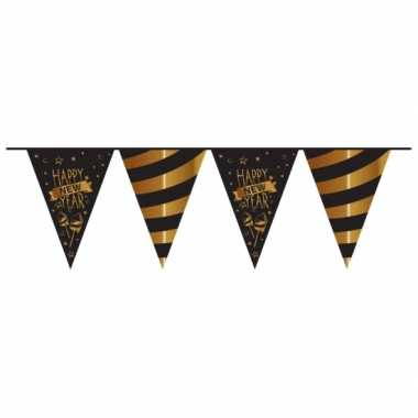Plastic vlaggenlijn nieuwjaar mat zwart 10 meter