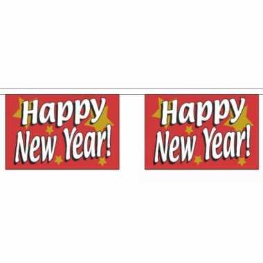 Polyester vlaggenlijn met happy new year 9 m