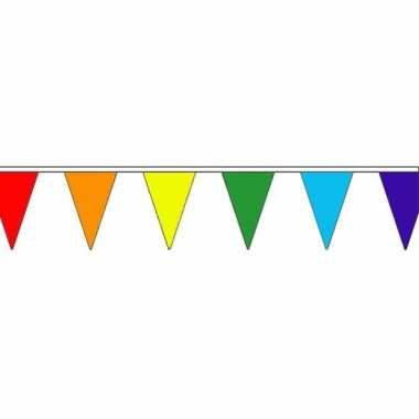 Regenboog vlaggenlijn van stof 20 m