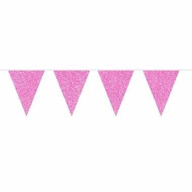 Roze babyshower vlaggenlijn met glitters 10 meter