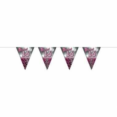 Roze slingers vlaggenlijnen 16 jaar 10 meter