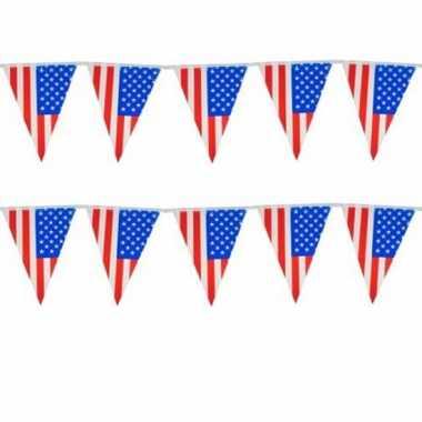 Set van 2x stuks usa thema vlaggenlijnen 10 meter