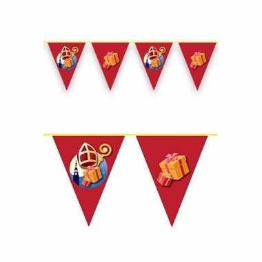 Sinterklaas decoratie vlaggen slinger rood 6 meter