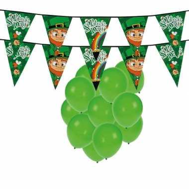 St. patricks day feestartikelen / versiering met ballonnen en 2x slin