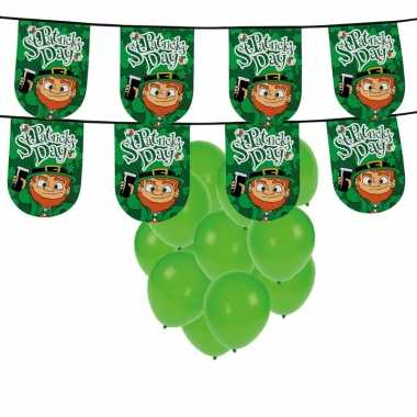 St. patricks day feestartikelen / versiering met ballonnen en slinger