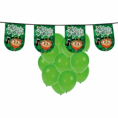 St. patricks day feestartikelen / versiering met ballonnen en vlaggen